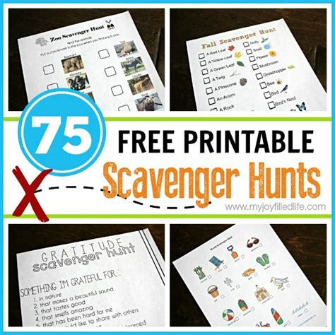 Scavenger Hunt Card Templates by 75 Free Printable Scavenger Hunts My Filled