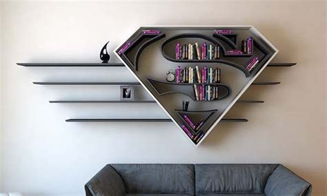 the concept bookshelf inspired by superman s logo gadgetsin