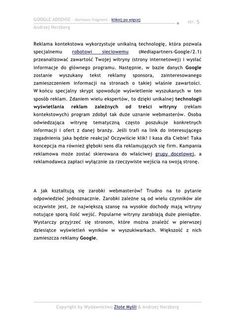 adsense zarobki google adsense pobierz darmowy ebook pdf