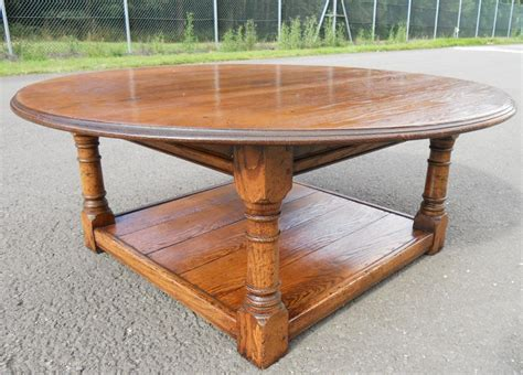 oversized round coffee table large round oak coffee table sold