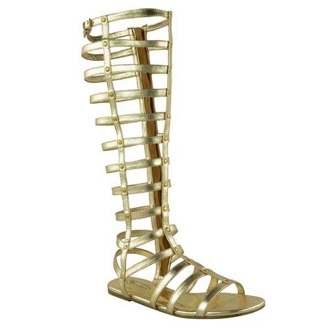sepatukubaru fara flatshoes gold womens knee high gladiator sandals cut out flat