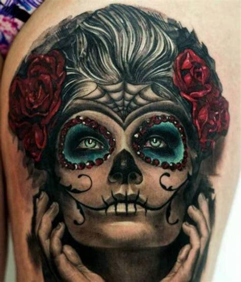 catrina mexicana con flores tatuajes para