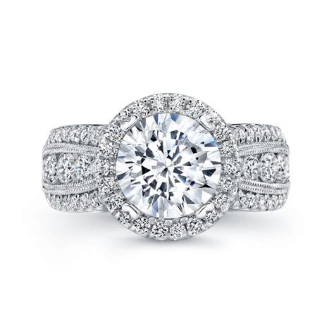 uneek 1 carat wide band halo engagement ring