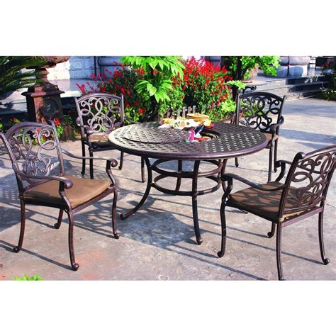 darlee patio furniture darlee santa 5 cast aluminum patio dining set dining table with insert
