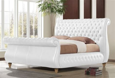 White Kingsize Bed Frame Time Living Swan White 6ft Kingsize Real Leather Bed Frame By Time Living