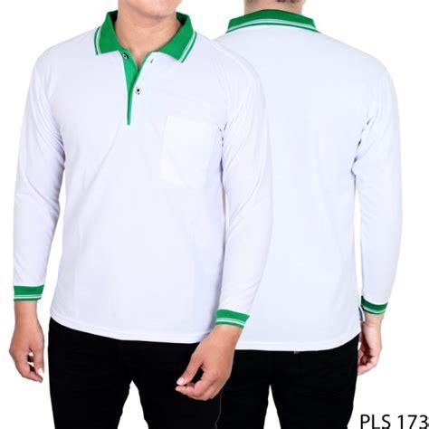Kaos Hijau Pria kaos polo pria panjang lacost pe putih kerah hijau pls