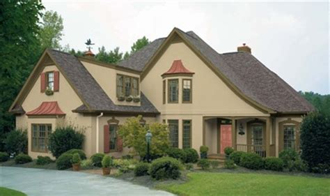 exterior color scheme for tudor valspar colors from lowe s shown in oakmoss trim summer s end