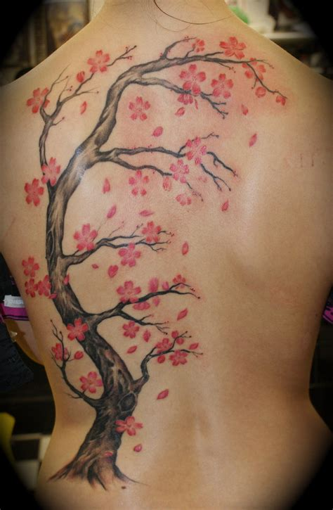 tree back tattoo cherry blossom tattoos designs ideas and meaning
