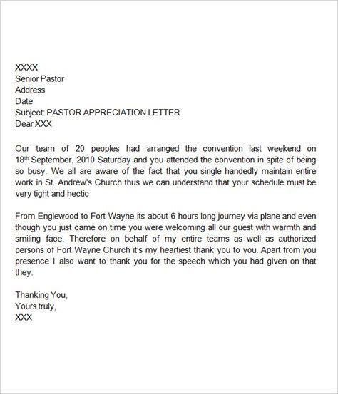 thank you letter to pastor for speaking best photos of pastor appreciation letter sle pastors