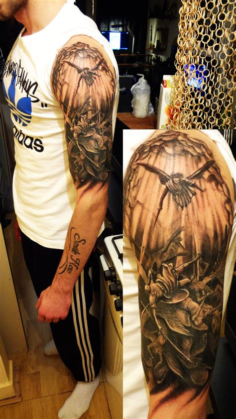 amazing fallen angel tattoo on half sleeve