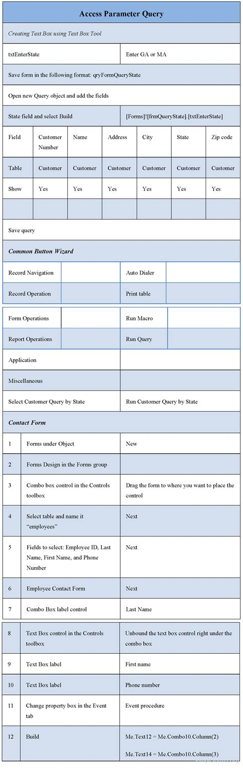 access form design query access parameter query form sle forms
