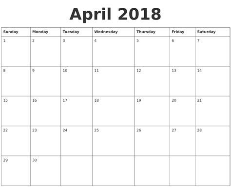 blank 2018 calendar template april 2018 blank calendar template