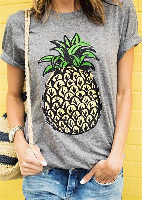 Sleeve Pineapple T Shirt pineapple printed sleeve casual t shirt fairyseason
