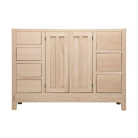 Hardwood Bathroom Vanity 48 Quot Unfinished Mission Hardwood Vanity For Undermount Sink 7 Drawers Bathroom