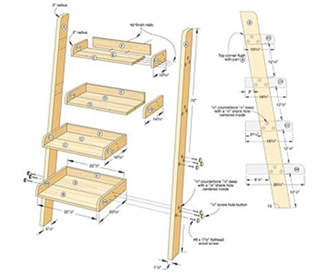 woodwork ladder bookshelf design pdf plans