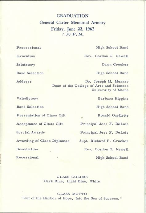 heirlooms reunited 1962 program for commencement at
