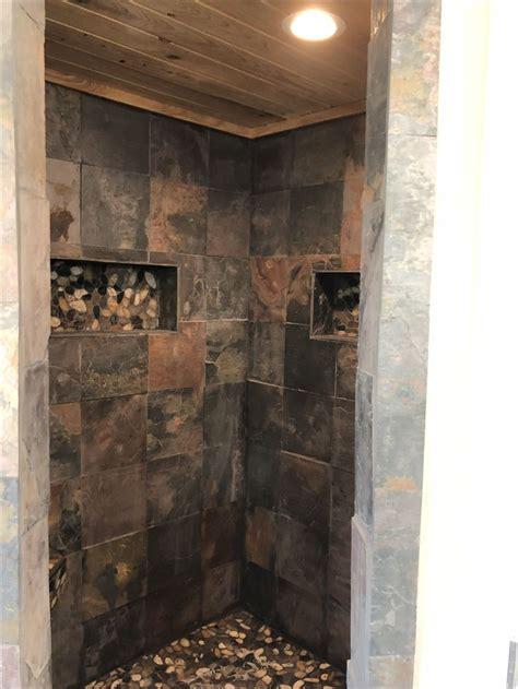 slate shower ideas  pinterest slate bathroom
