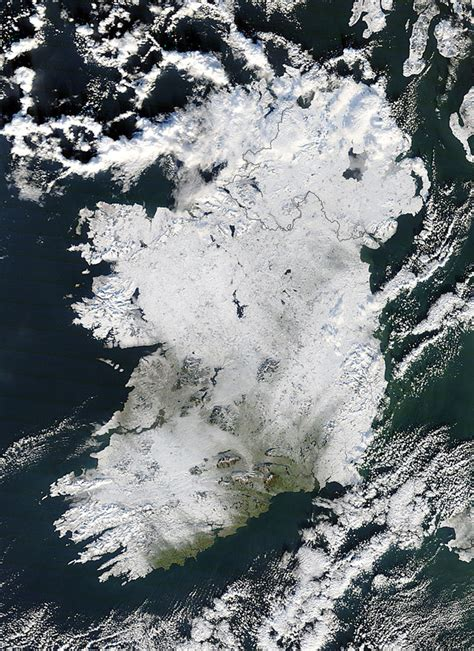 nasa nasa s terra satellite sees a snow covered ireland