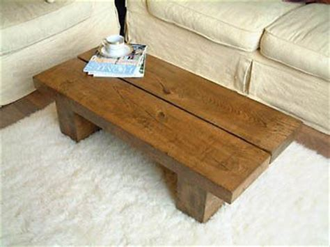 solid low oak pine wood coffee table chunky