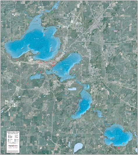 Chaign County Search Lakes Chain Enhanced Wall Map