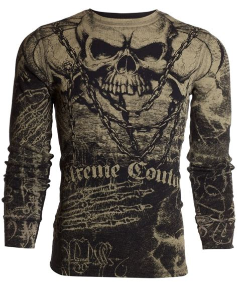 xtreme tattoo supplies reviews xtreme couture thermal black tan skull chains shirt s26