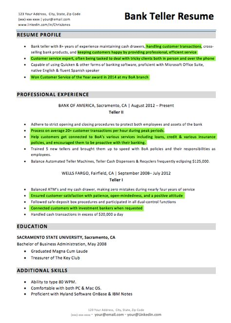 Resume For Bank Teller by Bank Teller Resume Sle Writing Tips Resume Companion