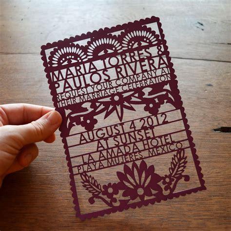 laser cut wedding invitation designs papel picado wedding invitations from avie designs