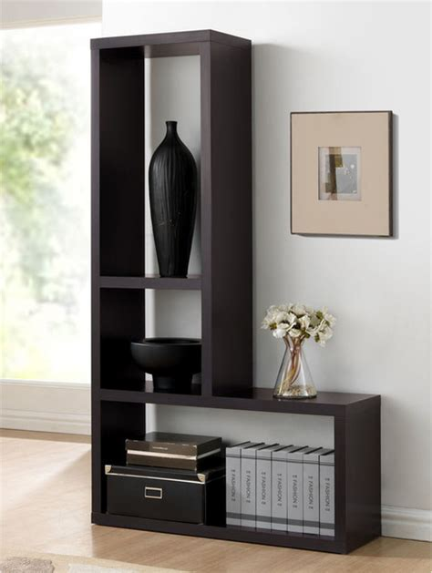 baxton studio rupal brown modern display shelf