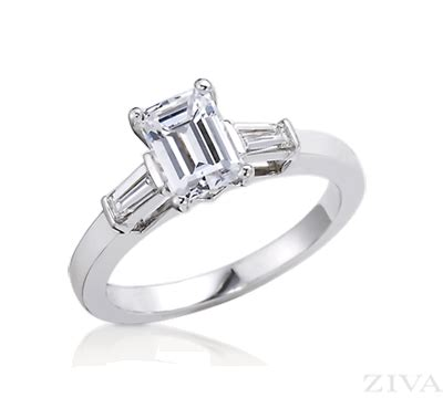 emerald cut engagement ring with single baguette on each side