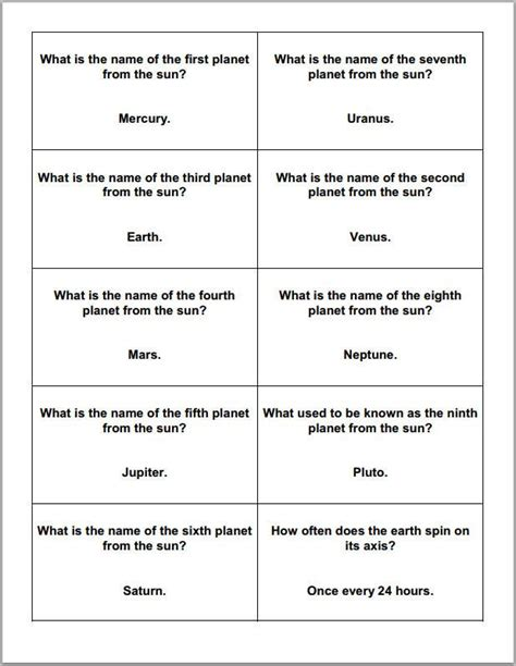 Question Card Template by Astronomy And Planets Printable Trivia Question Cards
