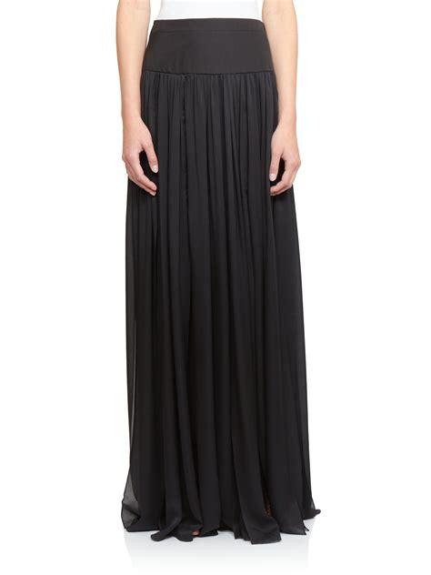 emanuel ungaro silk pleated maxi skirt in black lyst