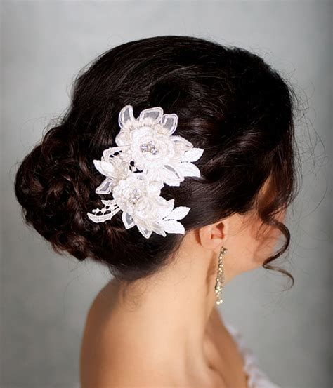 Wedding Hair Accessories Chagne by Ivory Hair Flowers Lace Headpiece Bridal Hair Flowers