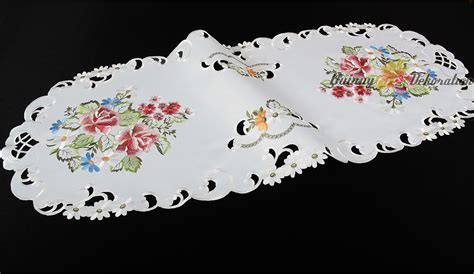 Pink White White Black Embroidery table cloth topper runner doily cushion cover white pink flower embroidery ebay