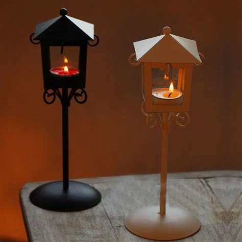 Candle Holder Lantern Centerpieces Modern Nightstand Wedding Decor Glass Metal Candle