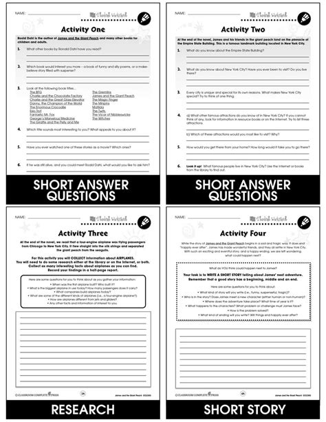 James and the Giant Peach - BONUS WORKSHEETS - Grades 3 to