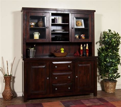 Sunny Designs Vineyard Hutch And Buffet In Rustic Mahogany Living Room Hutch Furniture