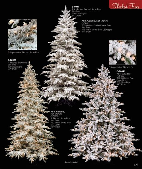 flocked snowy christmas trees