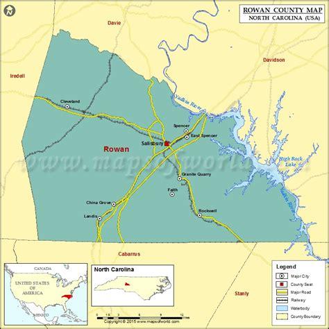 map of the carolinas usa rowan county map carolina