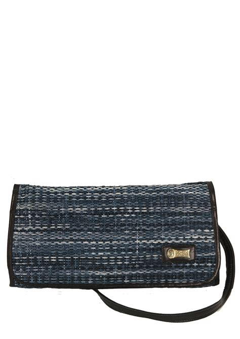blue pattern clutch bag leather lined clutch bag with detachable strap blue