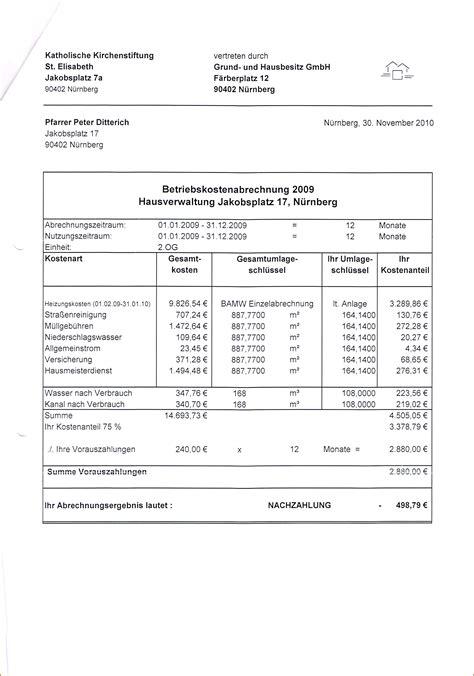nebenkostenabrechnung muster vorlagen vorlagen