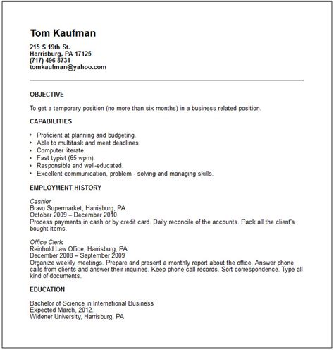 temp worker resume exle free templates collection