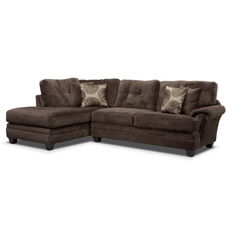 2 piece chaise sectional cordelle 2 piece left facing chaise sectional chocolate