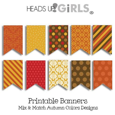 printable fall banner digital printable party banners in autumn colors rust