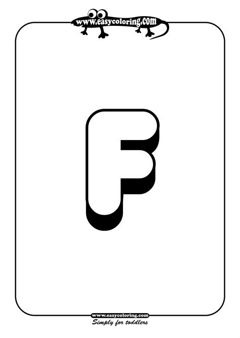 color with f big letter f simple alphabet easy coloring alphabet