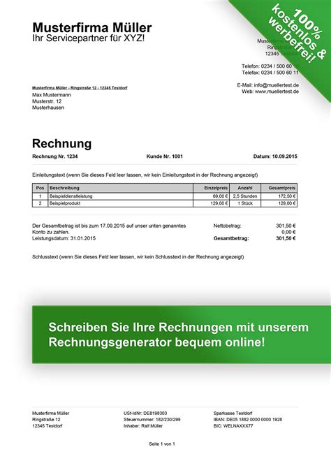 Handwerkerrechnung Schreiben Muster Rechnungsmuster Kostenlos Rechnung Muster F 252 R Jeden Zweck