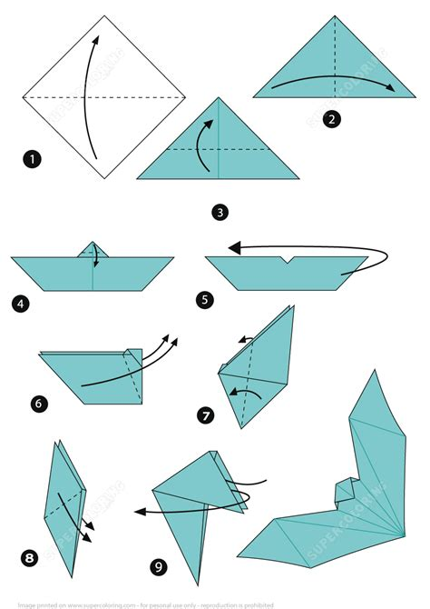 Origami Baseball Bat - origami bat free printable papercraft templates