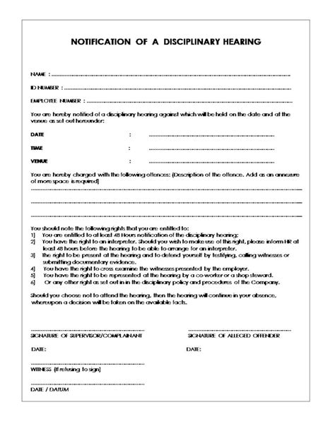 Appeal Letter Disciplinary Hearing Notice Of Disciplinary Hearing Form Document Labour South Africa
