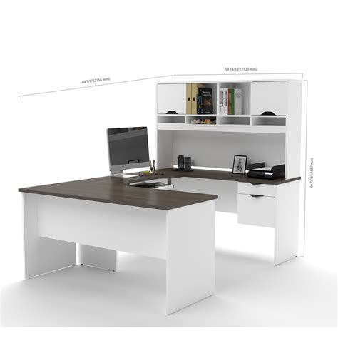 bestar innova u desk with hutch in white and antigua innova u shaped workstation in white and antigua