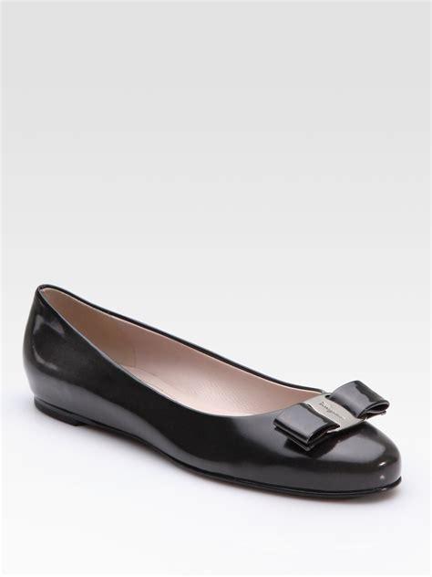ferragamo shoes flats ferragamo vara bow ballet flats in gray grey lyst