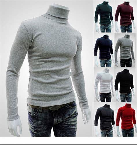 Plain Turtleneck Neck Sweater 2017 new style mens high neck sweater sleeve t shirt basic plain turtleneck t shirts autumn